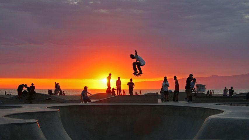 Skateboarding at Venice Beach, California