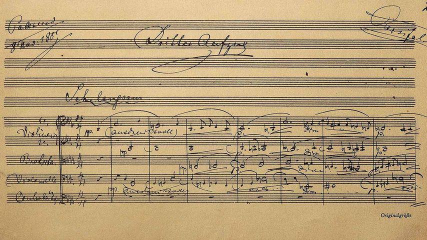 Partiturseite zur Oper Parsifal von Richard Wagner, Richard-Wagner-Museum, Bayreuth, Bayern, Deutschland