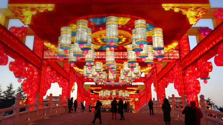 Lanterns at Datang Furong Garden, Tang Paradise in Xi'an, China