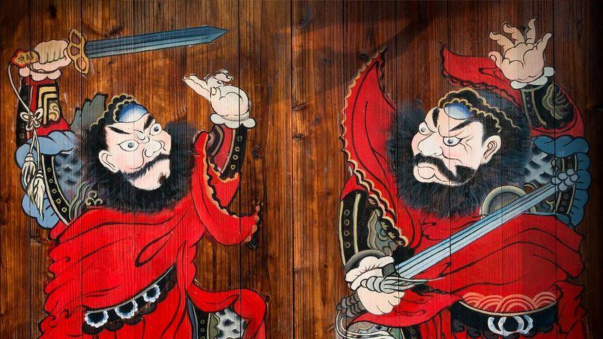 月河古镇一户人家门前画着的门神 ,浙江