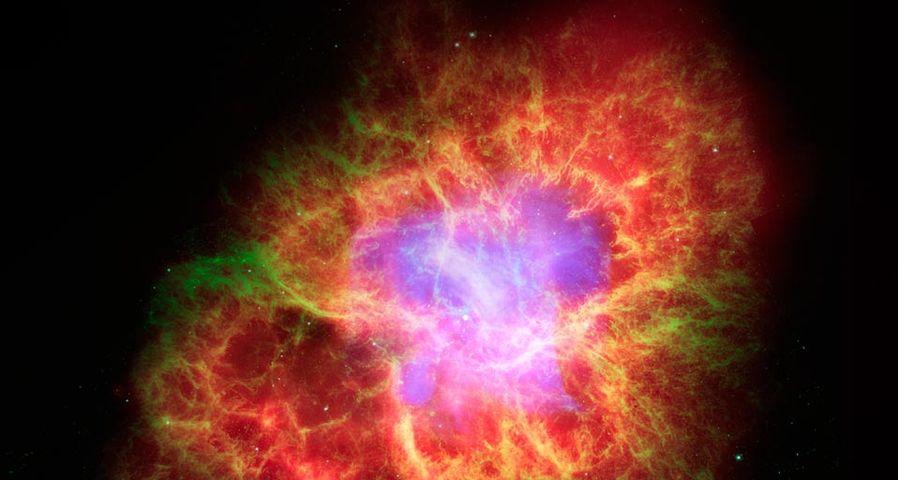 Spiral galaxy in Crab Nebula