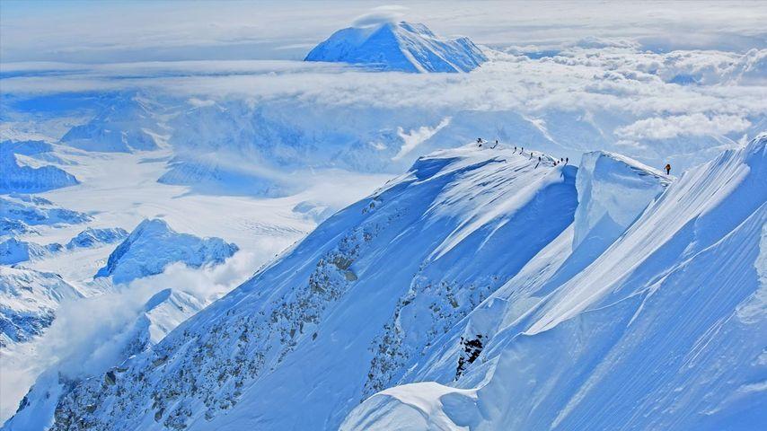 Climbers ascend Mount McKinley in Denali National Park and Preserve, Alaska