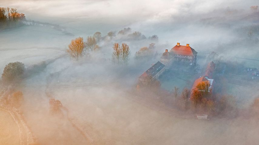 Luftbild von Schloss Oberwerries, Lippeauen, Hamm, Nordrhein-Westfalen, Deutschland