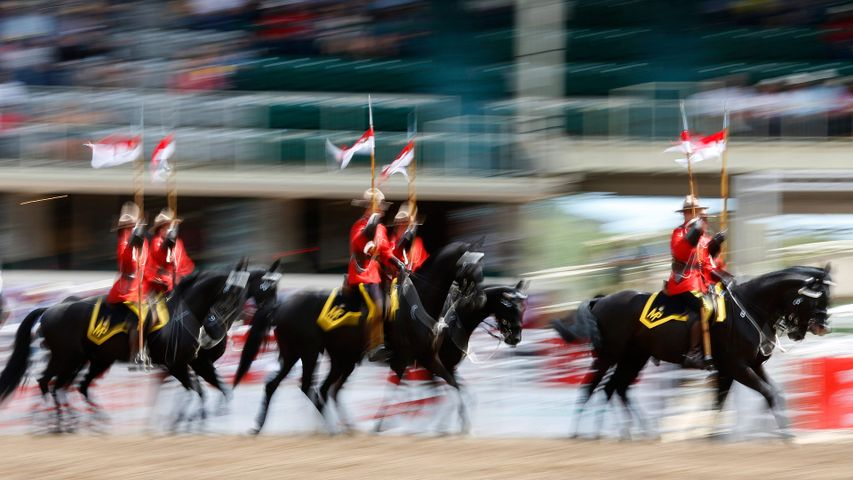 The Royal Canadian Mounted Police Musical Ride at the Calgary Stampede Rodeo in Calgary