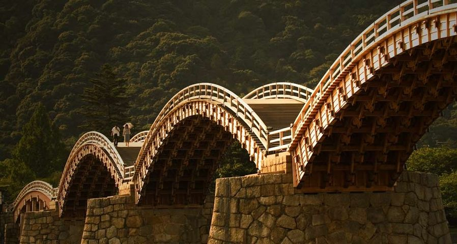 Kintai wooden foot bridge in Iwakuni, Japan