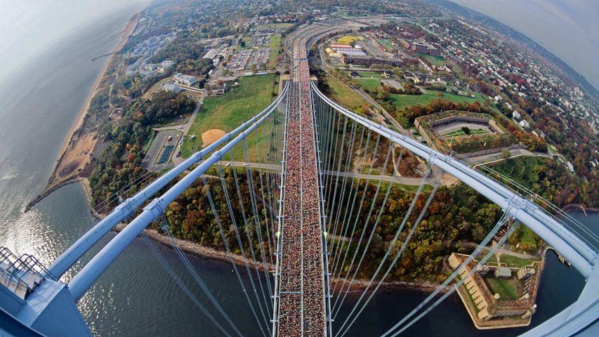 Runners on the Verrazano-Narrows Bridge between Staten Island and Brooklyn, USA