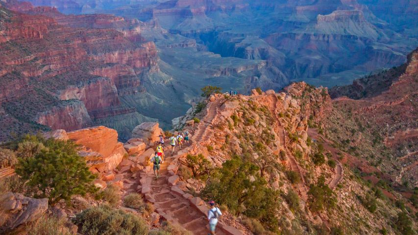 Runners on the South Kaibab Trail in the Grand Canyon, Arizona