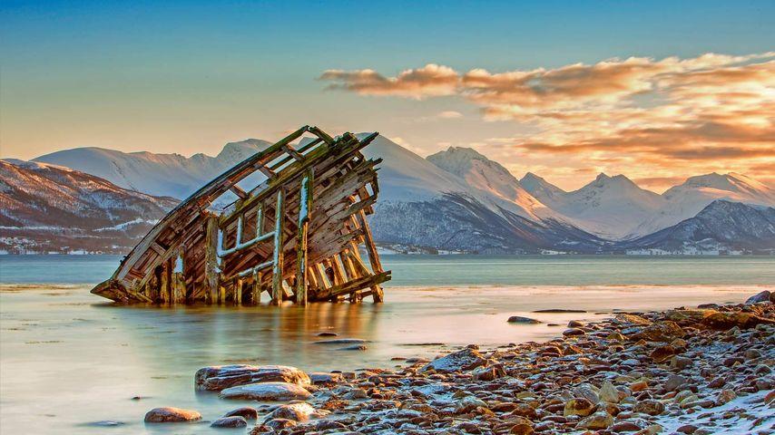 Ship wreckage near Tromsø, Norway