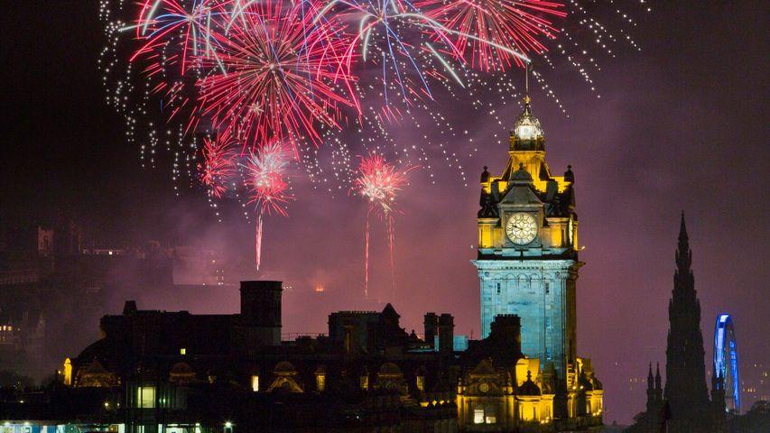 Fireworks above Edinburgh Castle during the city's festival season