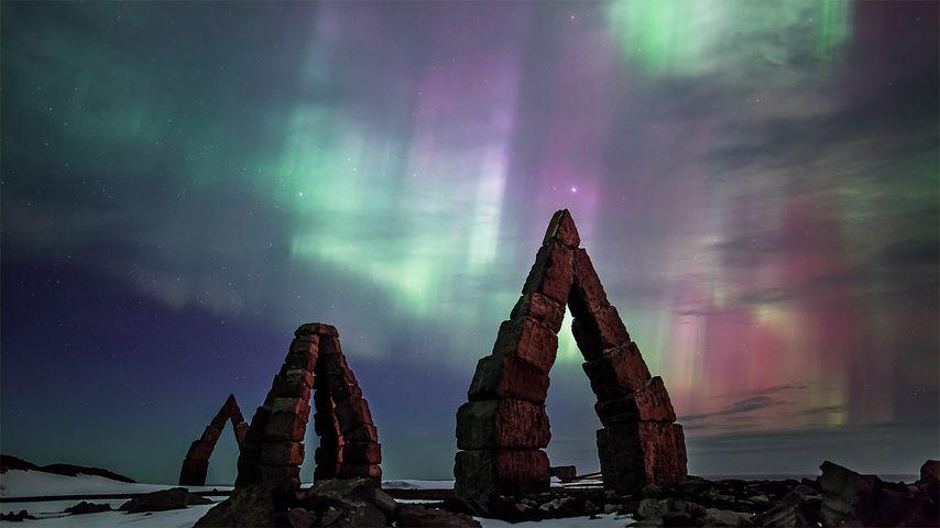 Aurora borealis over the Arctic Henge in Raufarhöfn, Iceland