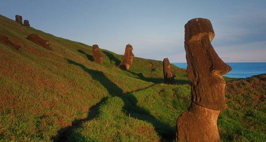 Moai stone statues on the outer slope of Rano Raraku, a soft stone quarry on Easter Island