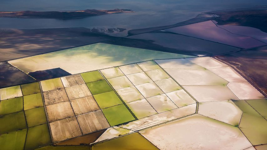 Solar evaporation ponds on the Great Salt Lake, Utah