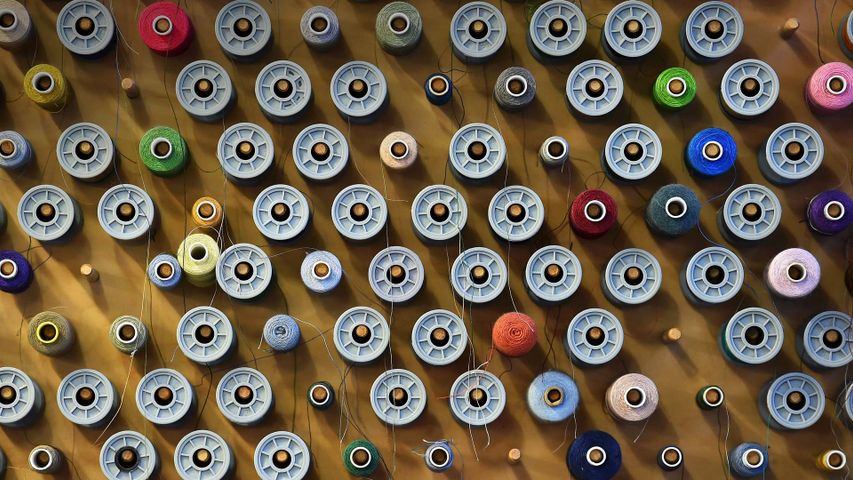 Reels of cotton at Angels Costumes warehouse in Hendon, north London