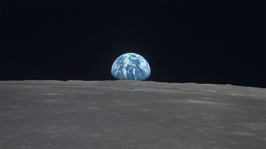 Earthrise across Mare Smythii on the moon