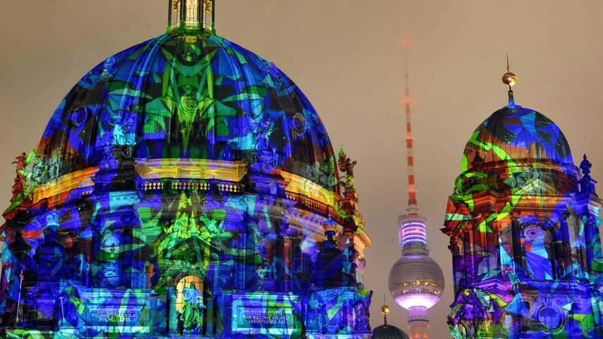 The Berlin Cathedral illuminated during the Festival of Lights in Berlin, Germany