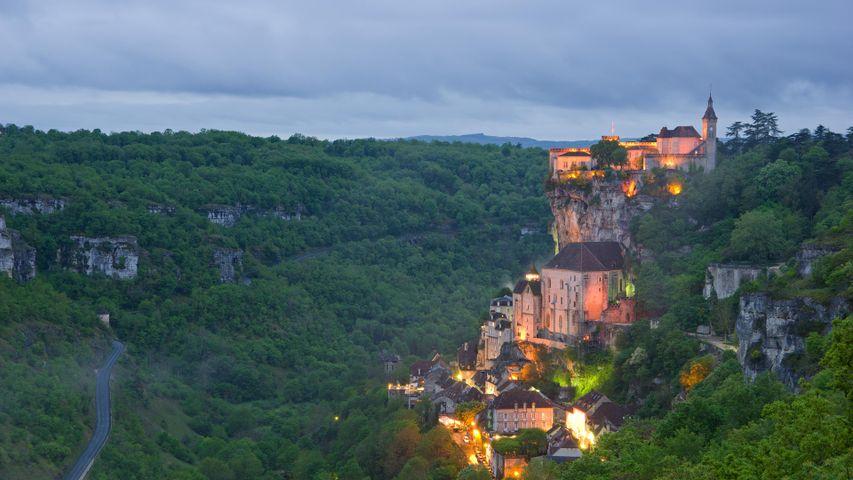 Village de Rocamadour au coucher du soleil, Lot, Occitanie