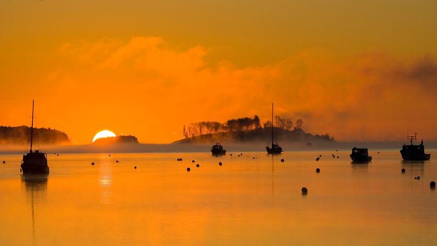 Silhouettes of fishing boats in Mahone Bay, Nova Scotia