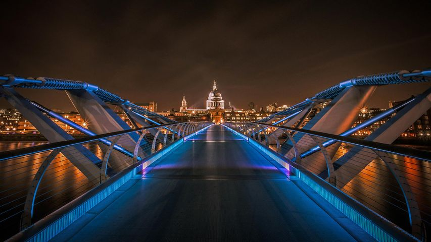 Millennium Bridge with St. Paul's Cathedral in the background, London, England