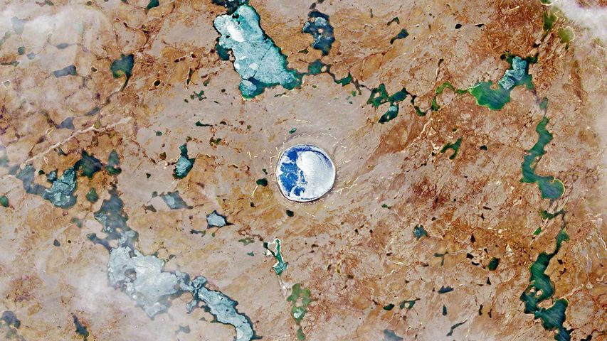 A satellite image of the Pingualuit asteroid impact crater in Quebec