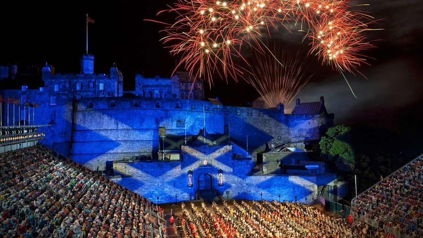 The Saltire projected onto Edinburgh Castle