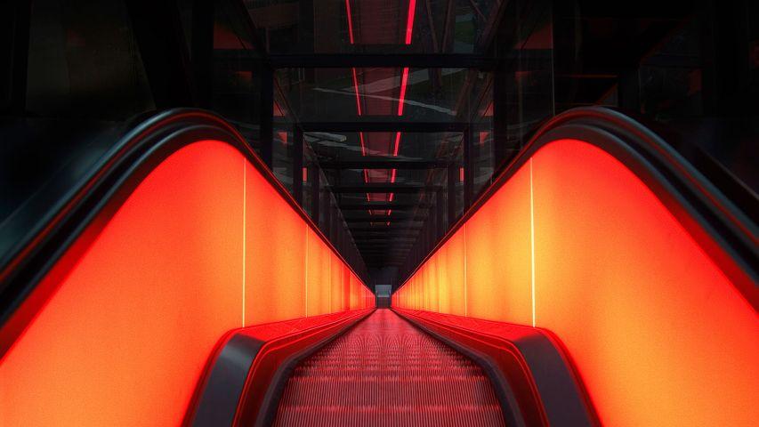 Rolltreppe des Ruhr Museums, Zeche Zollverein, Essen, Nordrhein-Westfalen, Deutschland