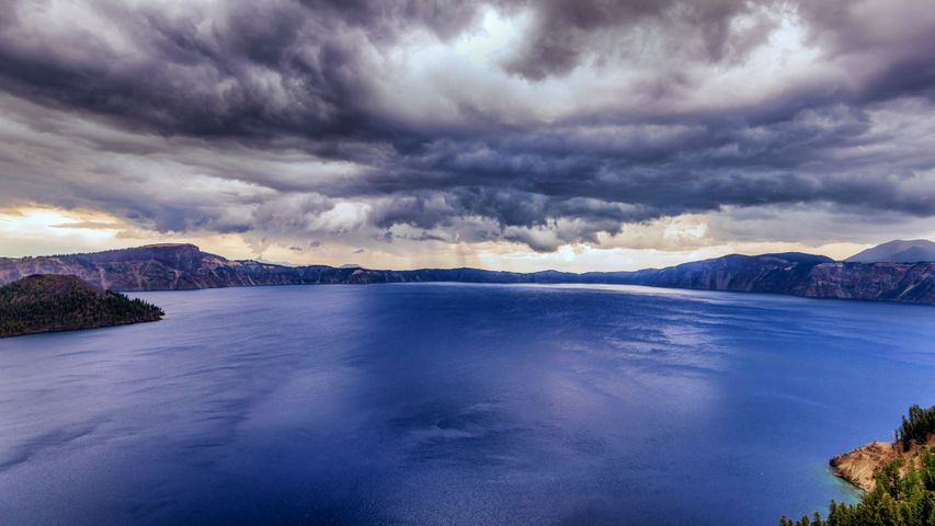 Storm clouds over Crater Lake National Park, Oregon