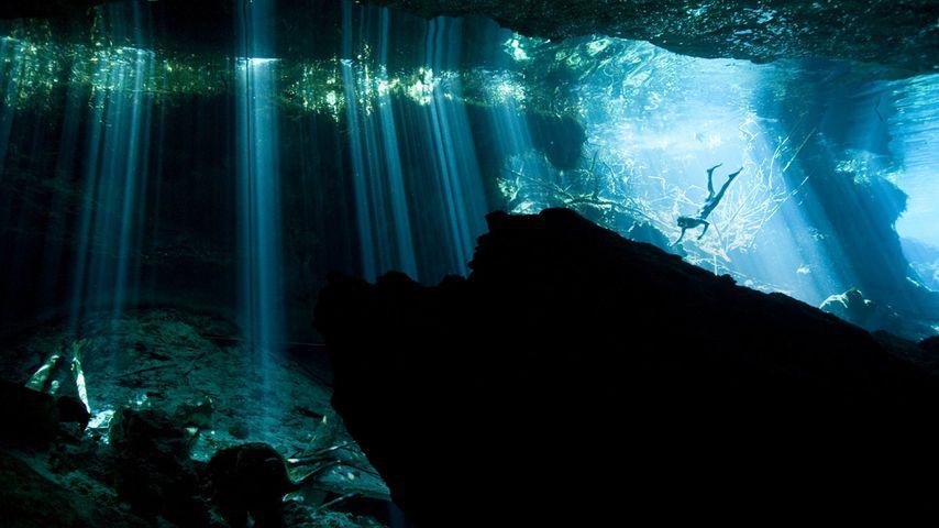 Diver in a cenote near Akumal, Mexico