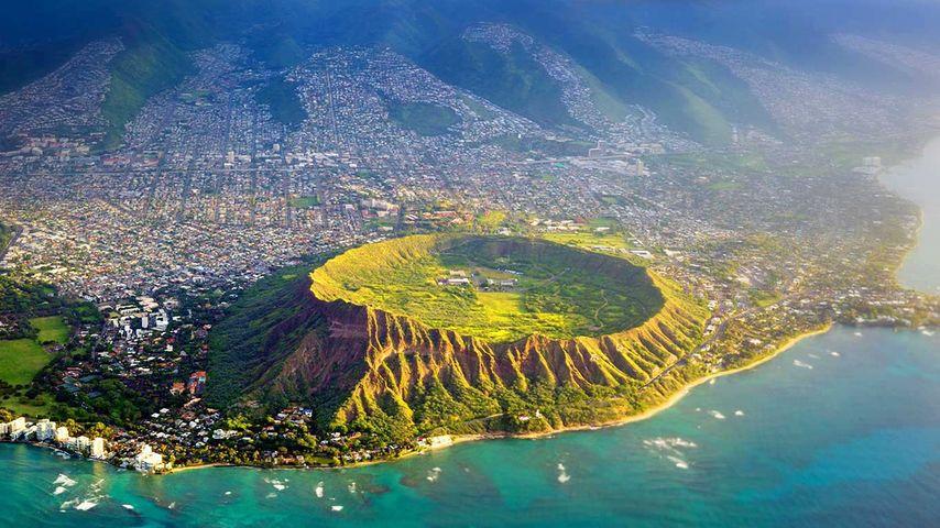 Aerial view of Diamond Head, Oahu, Hawaii