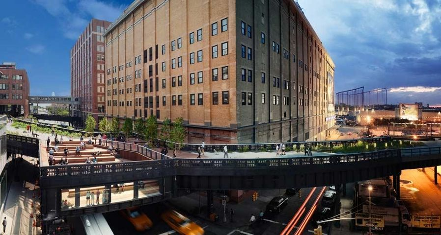 View of the High Line elevated park in New York City