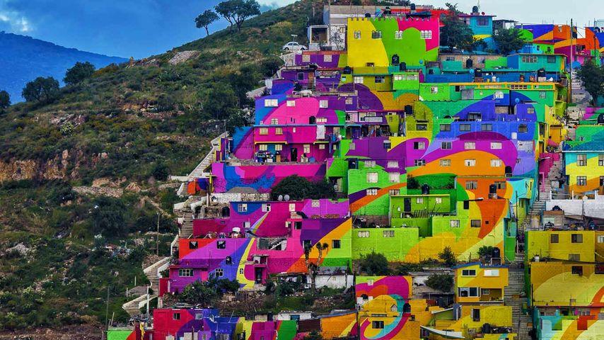 Giant mural in the Las Palmitas neighborhood of Pachuca, Hidalgo state, Mexico