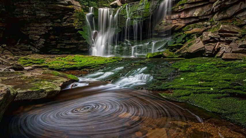 美国,西弗吉尼亚州,位于黑水瀑布州立公园的艾拉卡拉瀑布