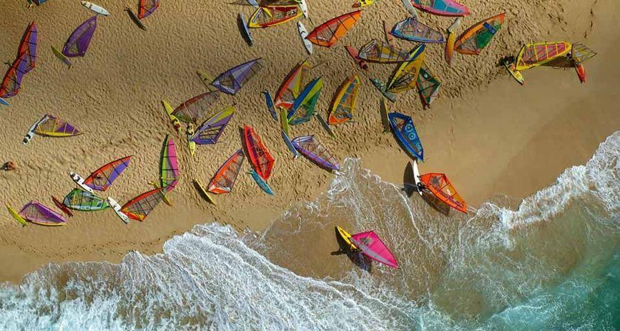 Ho'okipa beach covered with windsurfer boards, Maui, Hawaii
