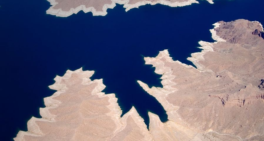 Aerial view of Lake Mead and land erosion near the border of Arizona and Nevada, USA