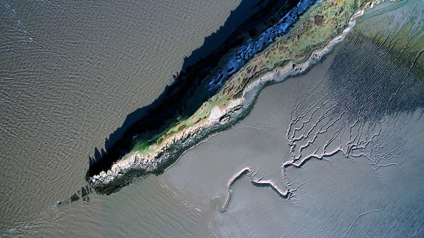 Aerial view of the coastline at Sand Point, Somerset, England