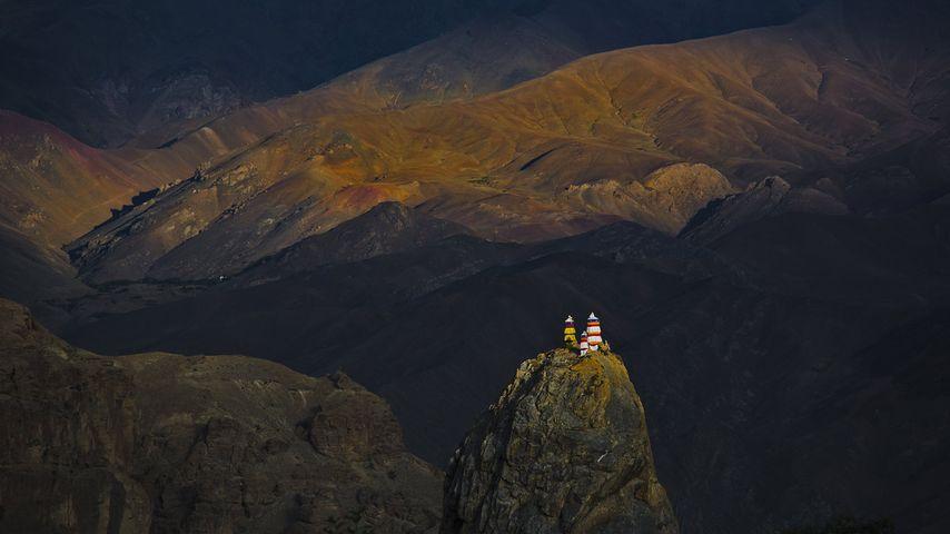 Mulbekh Monastery in the Zanskar region of Ladakh, Jammu and Kashmir, India