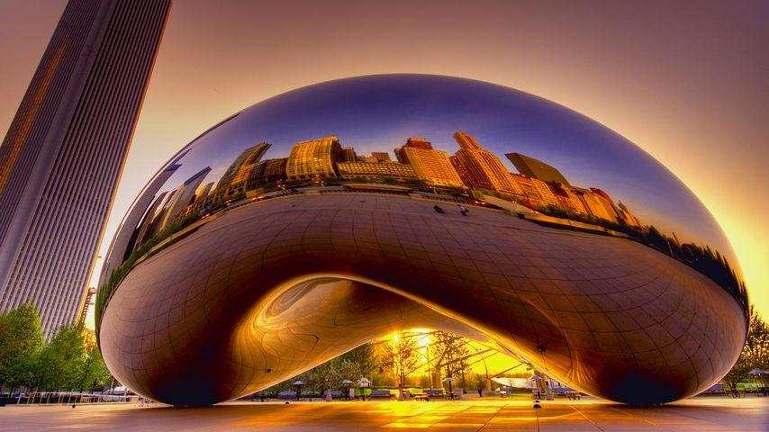 美国芝加哥,云门雕塑(芝加哥豆子)