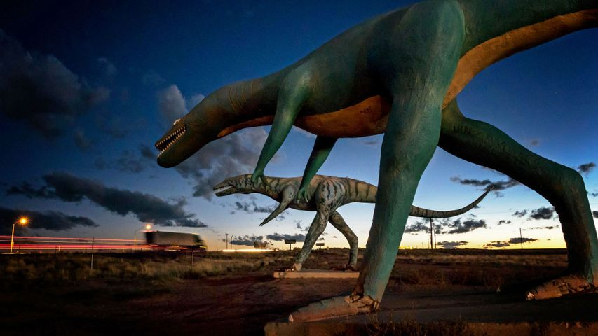 Concrete dinosaurs along Old Route 66 in Holbrook, Arizona