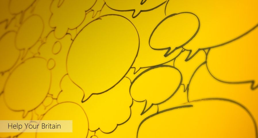 Speech bubbles as part of Bing Help Your Britain with the charity User Voice ©