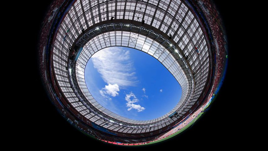 Fish-eye view of Luzhniki Stadium in Moscow, Russia, during a 2018 World Cup match
