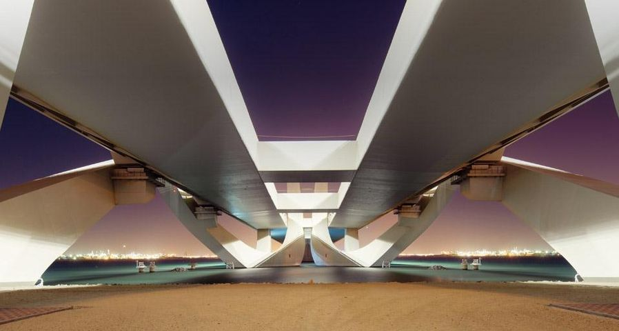 Sheikh Zayed Bridge at night in Abu Dhabi, United Arab Emirates
