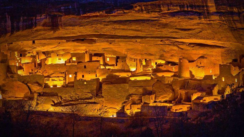 Luminaria festival at Cliff Palace in Mesa Verde National Park, Colorado