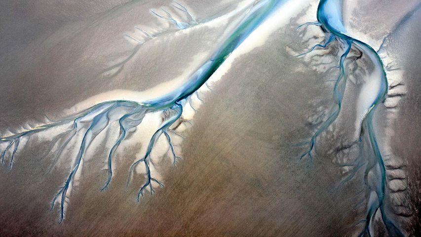 Priele im Biosphärenreservat Niedersächsisches Wattenmeer, Niedersachsen, Deutschland
