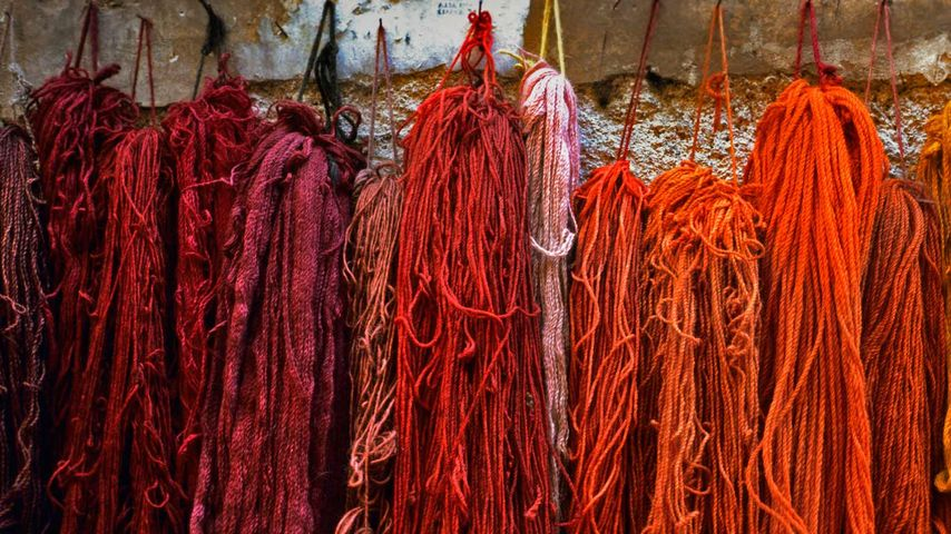 Bundles of dyed wool, Rome, Italy