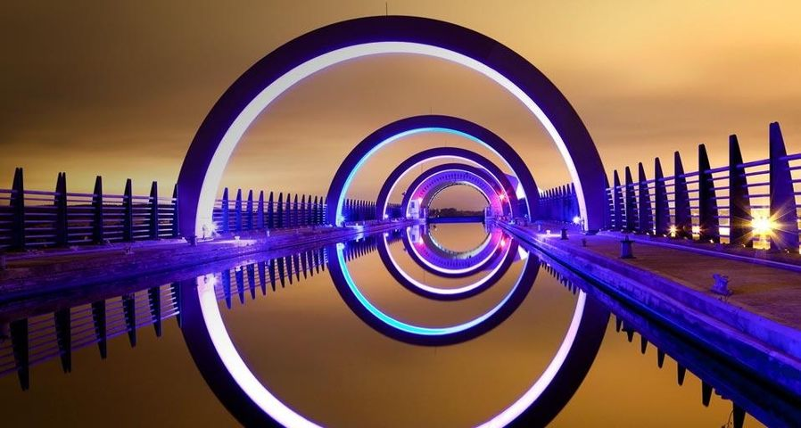 A long exposure night image from the Falkirk Wheel, Scotland