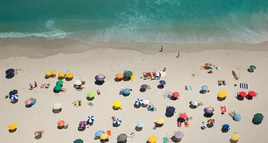 Umbrellas on a beach in Cape Town, South Africa