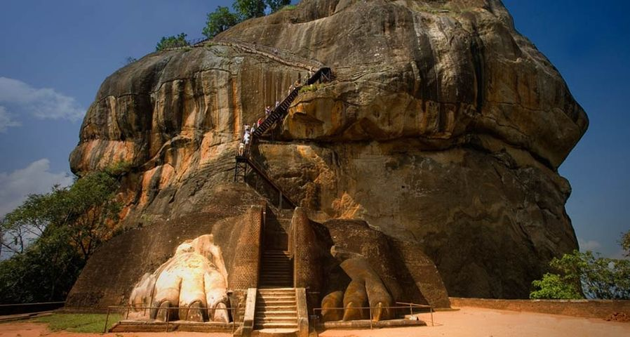 Remains of the colossal lion sculpture that flanked the stairway leading to the Sigiriya fortress in Sri Lanka