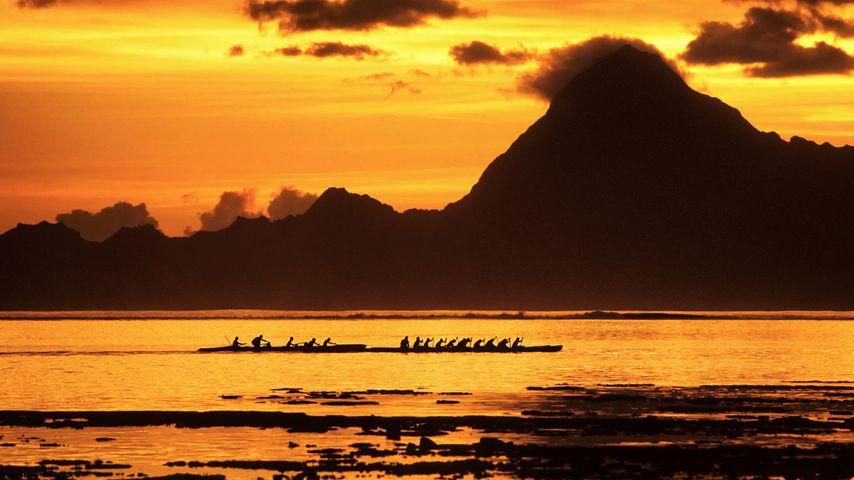 Course de pirogues polynésiennes dans le lagon au coucher du soleil, Tahiti