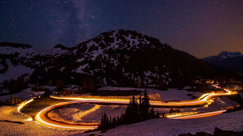 Long exposure of traffic on the town expressway in Osoyoos, B.C., Canada