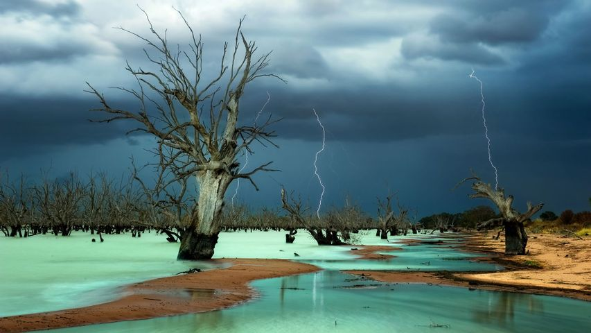 Storm clouds above Menindee Lakes, New South Wales, Australia