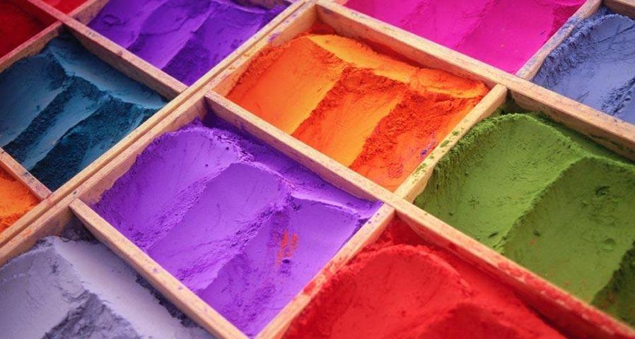 Powdered tika (or tikka) pigments on display in Kathmandu, Nepal